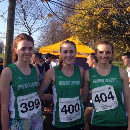 Junior Team Gold Medalist for the Scottish 4k Championship 2014 (L to R: Steph Pennycook, Mhairi MacLennan and Louise Mercer)